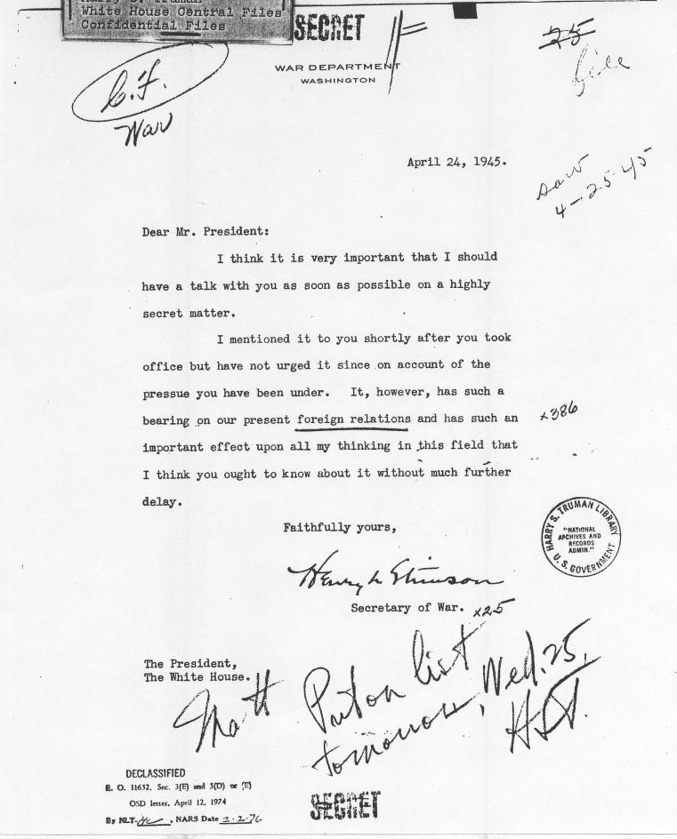 Secretary of War Henry Stimson to President Truman (atomic bomb ...